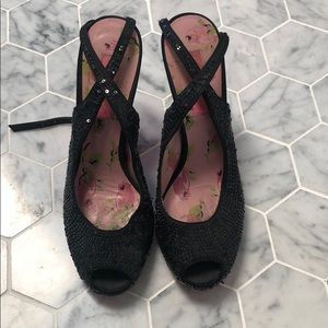Betsey Johnson black sequin and lace heels